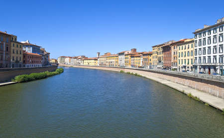 Italy,Tuscany,Pisa, the houses on the banks of the Arno river Stock Photo