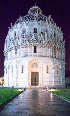 Italy, Pisa, Dei Miracoli square, night view of the Baptistery