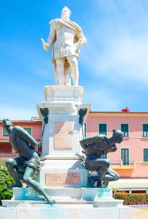 Livorno, Italy, Micheli square, the Quattro Mori monument Stock Photo - 101948892
