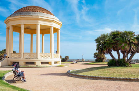 Livorno, Italy -May 26,2016: The kiosk of the Mascagni square and lookout on the seafront