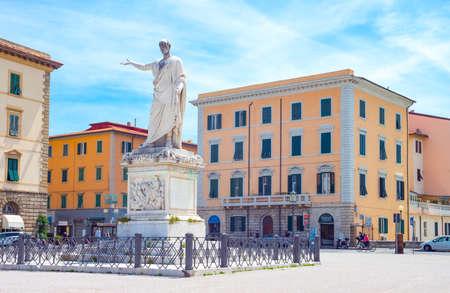 Livorno, Italy -May 25,2016: View of the great Della Repubblica square with the monumwnt to Ferdinando III Editorial