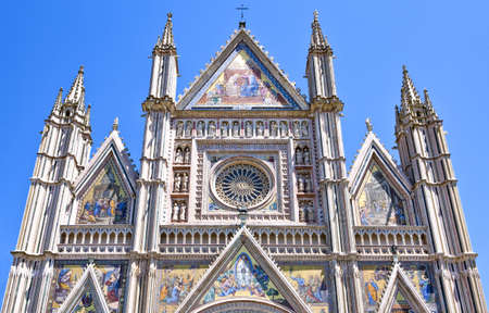 Orvieto, Italy, details of the Cathedral facade