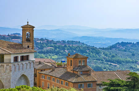 Italy,Umbria,Perugia,view of the old city with the valley in the background