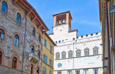 Italy,Umbria,Perugia,the Dei Priori palace seen from Matteotti square Editorial