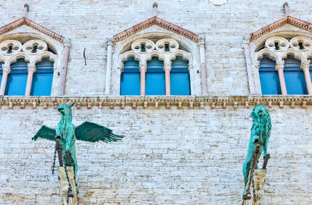 Italy,Umbria,Perugia,the  Dei Priori palace, detail of the facade