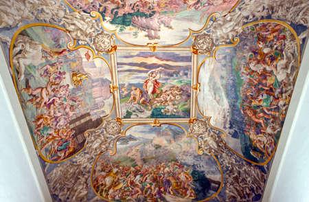 Quinto Vicentino , Italy - May 9, 2011:  A fresco painting by Giovanni Demio in the inside of Villa Thiene, architect Andrea Palladio.