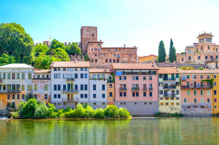Italy, Bassano Del Grappa, view of the old houses on the Brenta river bank