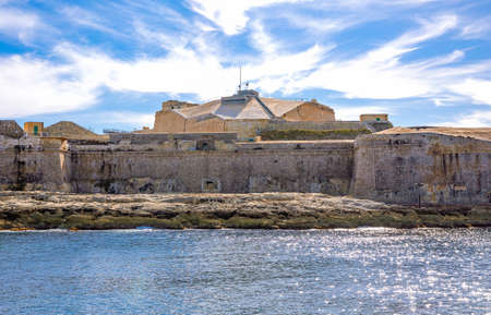 Malta, Valletta,the Fort St Elmo, seen from the  entrance to Grand Harbour