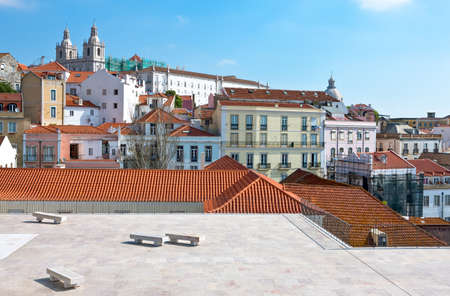 Portugal, Lisbon,panoramic view on the city from the S.Luzia belvedere