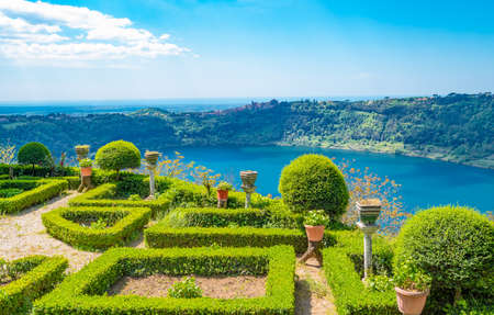 the belvedere garden of the village, Nemi, Italy Stock Photo
