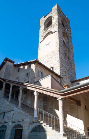 The Civic tower also known as the Del Campanone tower, Bergamo, Italy
