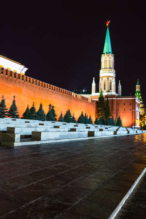 Russia, Moscow, Red Square, night view of  the Kremlin wall and the Nikolskaya tower