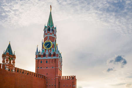 Russia, Moscow, Red Square, the Kremlin wall and towers