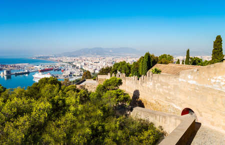Spain, Malaga, view over the harbor from the Gibralfaro castle