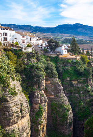 Spain, Andalusia, Ronda,  foreshortening of the old town over the El Tajo gorge Editorial