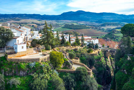 Spain, Andalusia, Ronda,  forseshortening of the old town over the El Tajo gorge Editorial