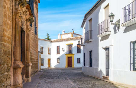 Spain, Andalusia, Ronda, traditional houses in front of the Mondragon palace
