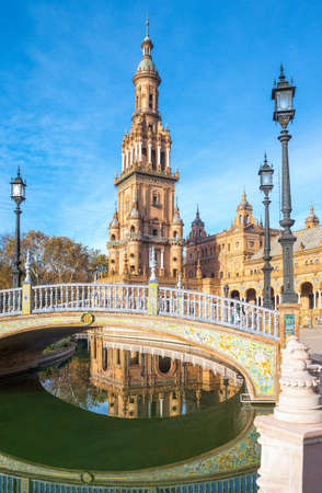Spain, Andalusia, Seville, foreshortenings of the architectures of Plaza de  Espana Editorial