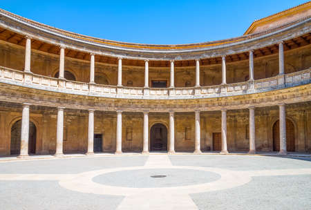 Granada, Spain - August 26, 2014: The circular courtyard of the Charles V palace