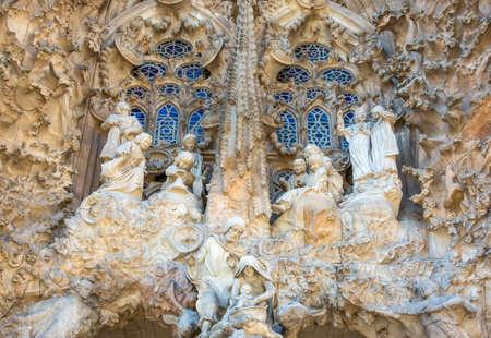 Spain, Barcelona, the sculptures of the facade of La Sagrada Familia Cathedral