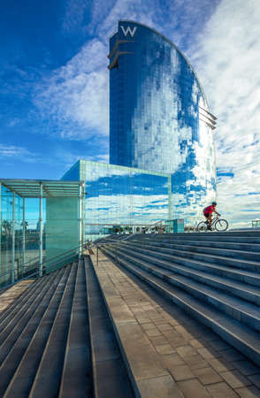 Barcelona, Spain - September 30, 20012:  The modern architectures of the  Hotel W  on the seafront Publikacyjne