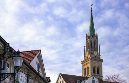 St.Gallen, Switzerland, view of the bell tower of the neo gotic style St. Lawrence church