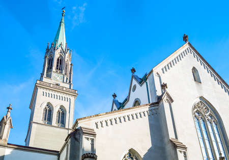 St.Gallen, Switzerland, upward view of  the neo gotic style St. Lawrence church