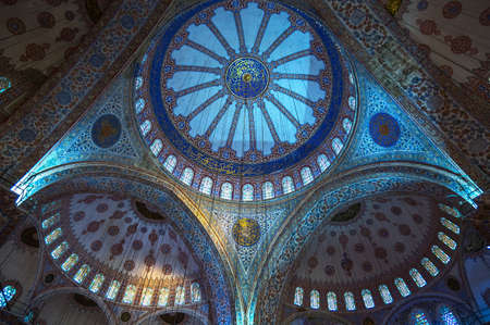 Istambul , Turkey - February 20, 2013: The interior of the Sultan Ahmed mosque (Blue Mosque)