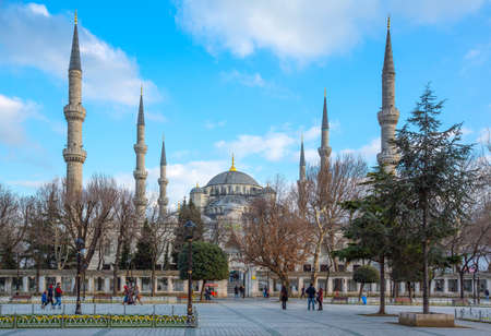 Istambul , Turkey - February 20, 2013: People in front of the Sultan Ahmed mosque (Blue Mosque)