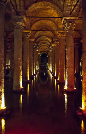 Istambul , Turkey - February 22, 2013:  The marble columns of the underground Basilica Cistern Editorial