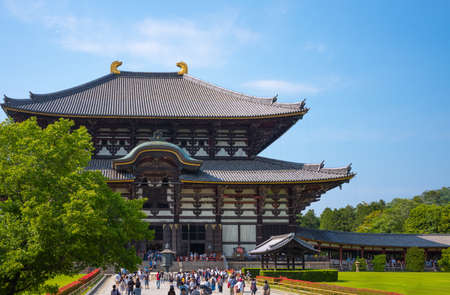 Nara, Japan - June 10, 2017: A crowd of people in  the entrance courtyard of the Todaiji temple