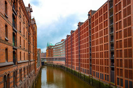 Germany, Hamburg, warehouses on the canal of the Speicherstadt port area