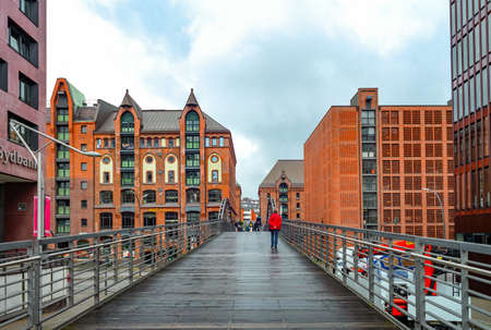 Hamburg, Germany - July 25, 2017: A bridge leading to the warehouses of the Speicherstadt port area