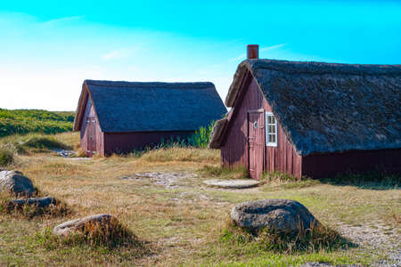 Denmark, Jutland peninsula, Nymingab district, ancient fishermen houses in the outflow of the Ringkobing fjord