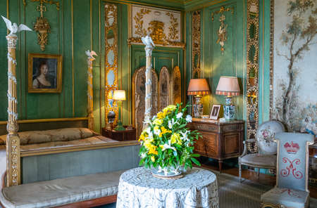 Invergordon, Scotland - May 28, 2019:  A sumptuous bedroom of the Dunrobin castle
