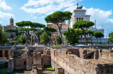 Italy, Rome, the Forum of Augustus with the Vittoriano monument in the background