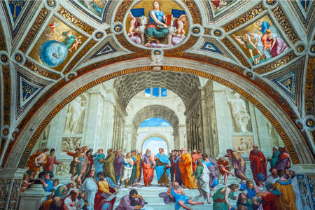 Rome, Italy - january 10, 2019: Vatican Museums, Room of the Signatura, The School of Athens, by Raffaello Éditoriale
