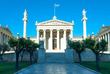 Greece, Athens, the main entrance of the Academy of Athens with statues of Greek philosophers and gods