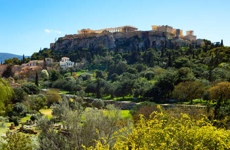 Greece, Athens,  the Acropolis hill seen from the Ancient Agora