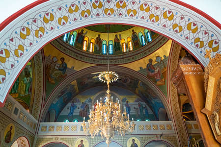 Santorini, Greece - July 5, 2017 : The inside  paintings and decorations of the  Orthodox Metropolitan Cathedral