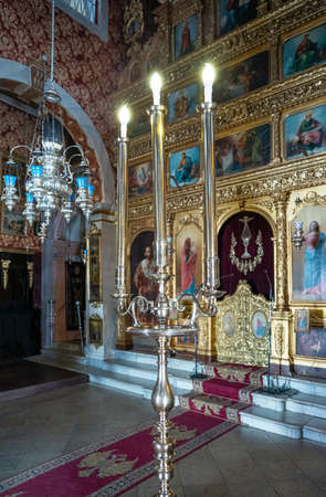 Corfu, Greece - July 4, 2017: The old paintings and decorations of the Panagia Ton Xenon orthodox church in the old town
