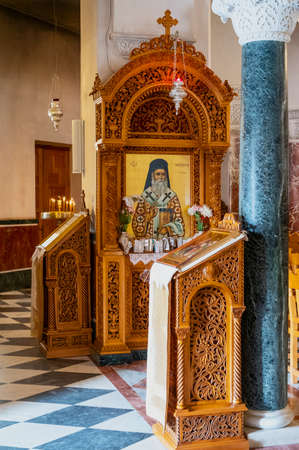 Aegina, Greece - March 17, 2018:  The interior of the cathedral of Saint Nectarios