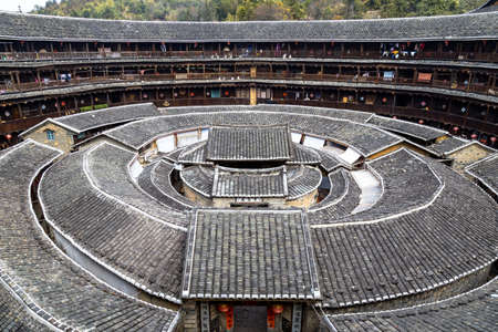 Chengqi Lou Gaobei Cluster, Fujian province China. Also called King of the Tulou, it is the biggest of all the tulou and it could host up to 400 families
