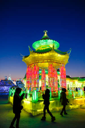 February 2013 - Harbin, China - Ice buildings in the International Ice and Snow Festival Editorial