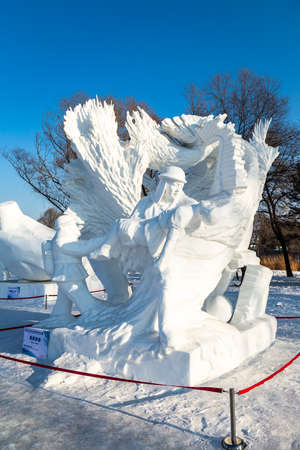 Harbin, China - January 2015: Fire Rescue Snow sculptures in the 27th China Harbin Sun Island International Snow Sculpture Art Expo. Located in Harbin City, Heilongjiang, China. Editorial