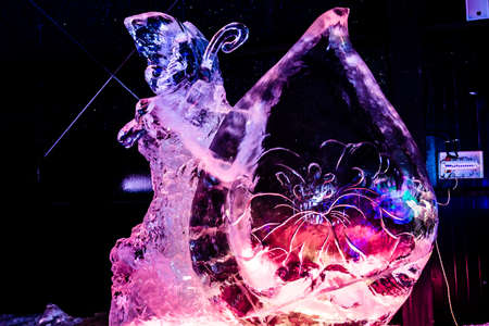 February 2013 - Harbin, China - Beautiful ice statues at the Ice Lantern Festival in Zhaolin Park Editorial