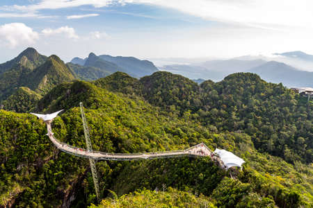 Langkawi Sky Bridge seen from the cablecar view point. Langkawi Island, Malaysia
