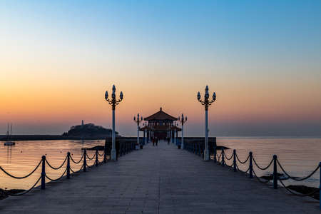 Zhanqiao pier at sunrise, Qingdao, Shandong, China Stock fotó
