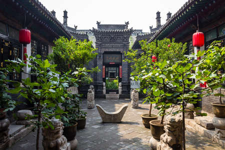 Aug 2013 - Pingyao, Shanxi province, China - One of the courtyards of Ri Sheng Chang, the oldest bank in the world in Pingyao Ancient City. Pingyao is a UNESCO World Heritage Site 報道画像