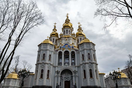 Kharkiv, Ukraine: Mironositskaya Church, also known as Myrrh-Bearers temple, is located in Peremohy Garden Square in front of the State Academic Opera and Ballet Theater Stock Photo
